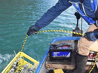 小海の湖底で日本酒熟成 645本沈める