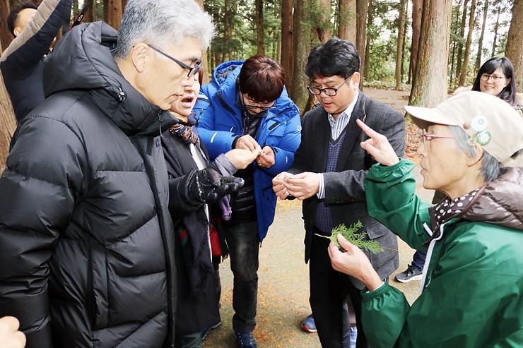 立山寺内に生えている木々について説明を受ける一行