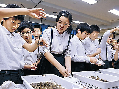 日本一長~い ミミズに歓声 森本小で学習会