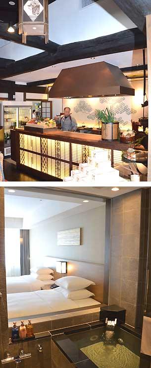 高級古民家リゾート「旅籠丸八」の一つで、和食を提供する施設(写真上)。「コートヤード・バイ・マリオット白馬」が新設した温泉付きプレミアルーム