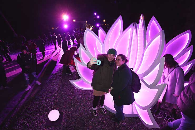 ハス形のイルミネーションの前で写真を撮る外国人観光客=24日午後5時37分、長野市の善光寺
