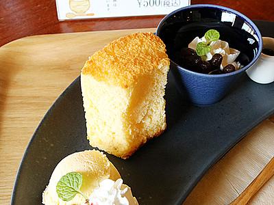 地元でコラボ、米粉シフォンケーキ 新湊・番屋カフェ提供
