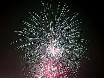 光の大輪 冬の温泉街染める 宇奈月で花火大会