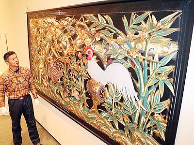 井波彫刻の魅力発信 福野で47点展示