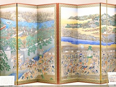 奇祭「馬威し」屏風5年ぶり展示 福井市郷土歴史博物館