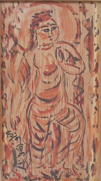 木箱のふたの裏に描かれた菩薩図