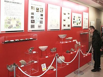 縄文ロマンいざなう 耳取遺跡の出土品展示 見附