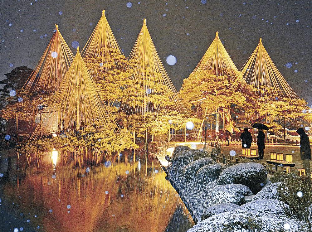 雪が降る中、ライトアップされた園内=兼六園