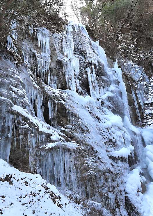 朝晩の厳しい冷え込みで結氷が進む姿見不動滝=阿智村清内路