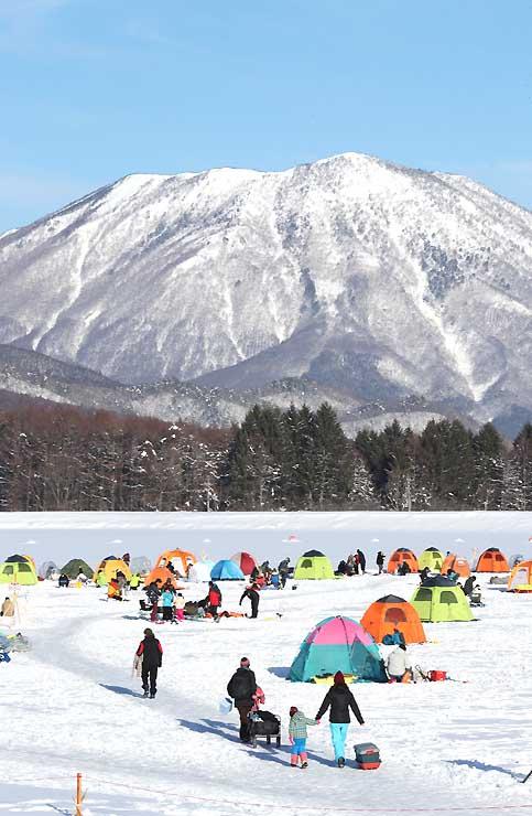 雄大な黒姫山を背に、結氷した湖上にカラフルなテントを並べてワカサギ釣りを楽しむ人たち=飯綱町の霊仙寺湖