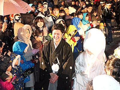 雪中でアツアツ結婚式 南砺利賀そば祭り会場