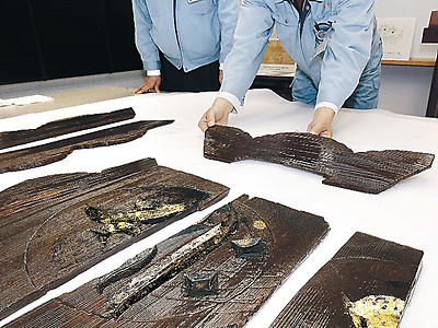 金箔付き笠塔婆が出土 国内初、金沢の千田北遺跡