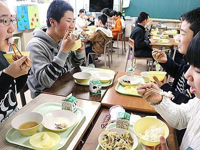 「富富富」給食 おいしい 県内小中学校
