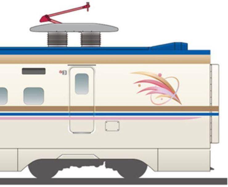 稲穂とトキの羽をイメージしたシンボルマークがあしらわれたE7系の外観イメージ図(JR東日本新潟支社提供)
