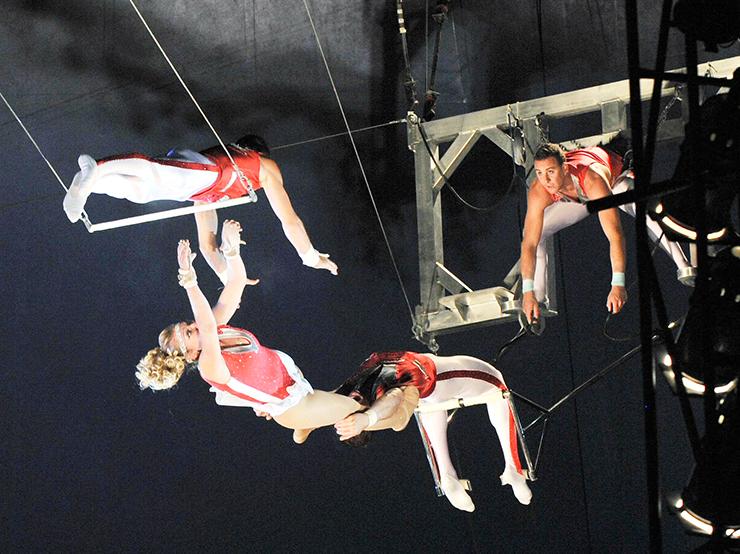 豪快な空中アクロバットなど、超人的な肉体と技を駆使した迫力ある演技が見どころのポップサーカス