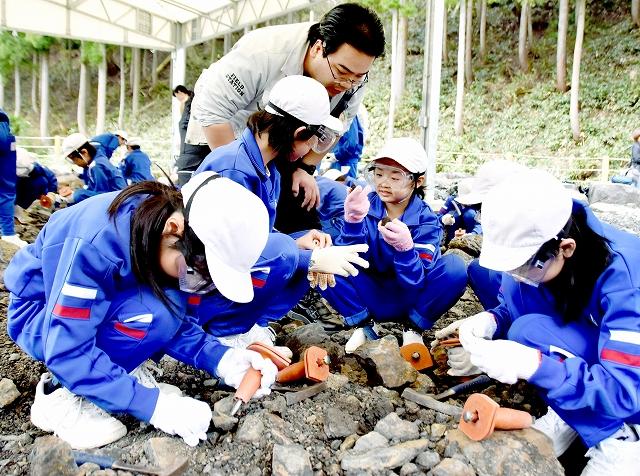 化石の発掘体験を楽しむ勝山市内の児童=2018年4月、福井県勝山市内