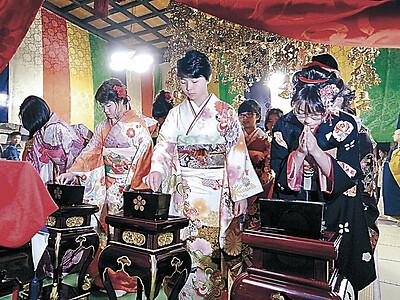 十三詣り、大人の一歩 金沢の天徳院、26人が多福願う