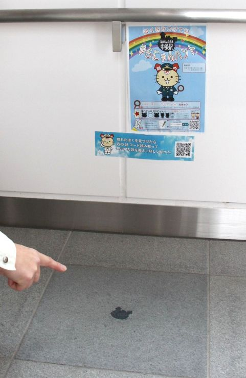 JR中条駅にいる「隠れやらにゃん」=胎内市