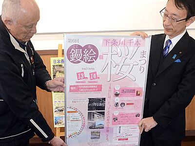 「鏝絵と千本桜まつり」ポスター完成 4月、射水