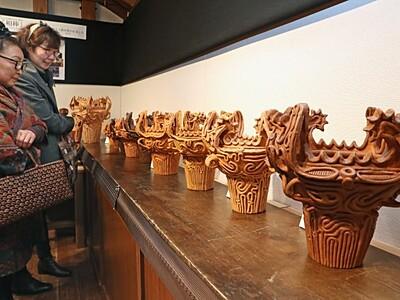 縄文の造形美堪能 長岡で復元土器・土偶展