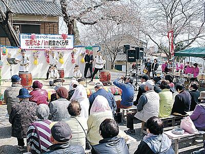 桜のトンネル楽しむ 穴水・能登鹿島駅、カキや太鼓も満喫