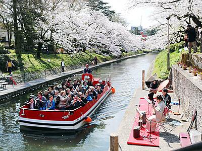 花見客 胡弓や三味線の音色楽しむ 松川でミニライブ
