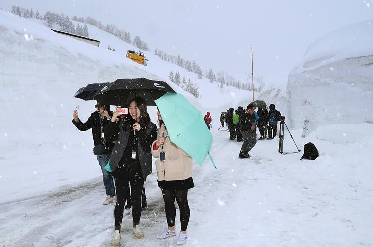 雪が降る中、笑顔で散策する外国人観光客=立山・弥陀ケ原