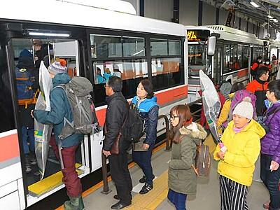 安全運転がおもてなし アルペンルート電気バス運行開始