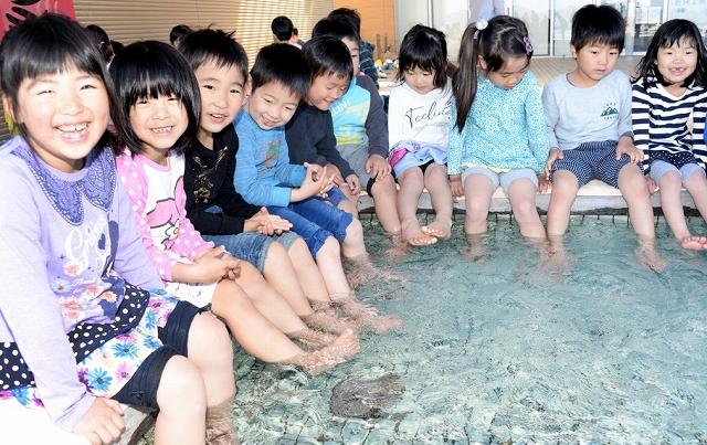 足湯の〝一番風呂〟を楽しむ園児=4月16日、福井県小浜市食文化館