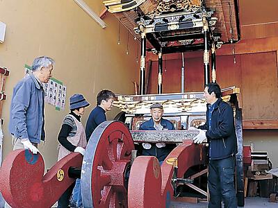 美川南町 台車の車輪新調 おかえり祭りへ