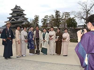 松本の街彩る着物姿 初の「キモノマルシェ」
