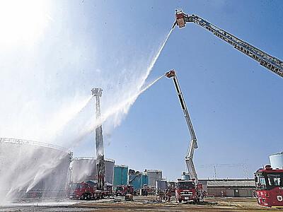 金沢港で訓練 石油基地の火災に備える