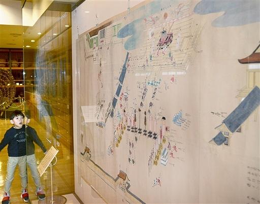 光格天皇の即位礼の様子を描いた絵画=29日、福井市の県立歴史博物館