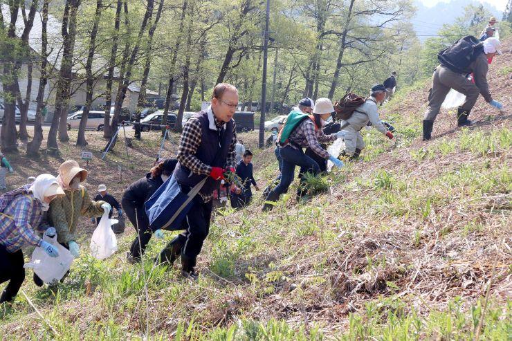 山の幸を求めて集まった山菜ファン=12日、阿賀町の丸渕観光わらび園
