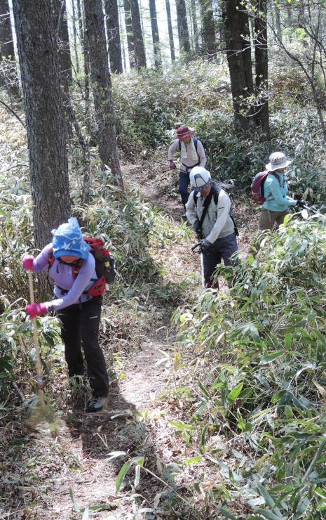 19日に烏帽子岳に向かう登山道を整備した中央アルプス南部岳人ネットワークの松川町の有志ら