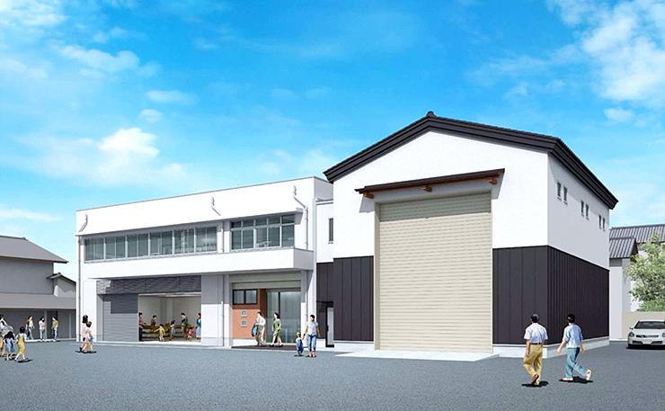 津沢あんどんふれあい会館の完成予想図。あんどん展示室(右)は切り妻屋根とする