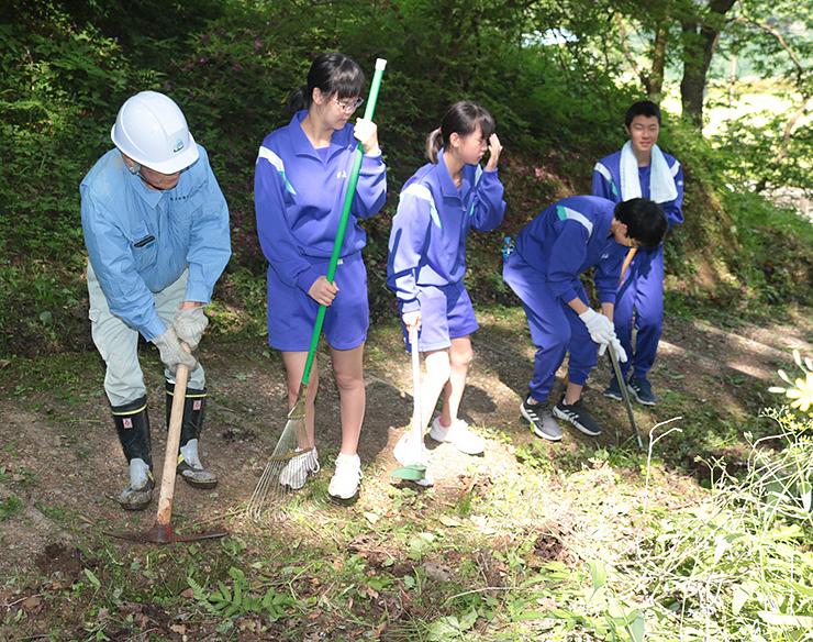 増山城跡の遊歩道を清掃する生徒や住民