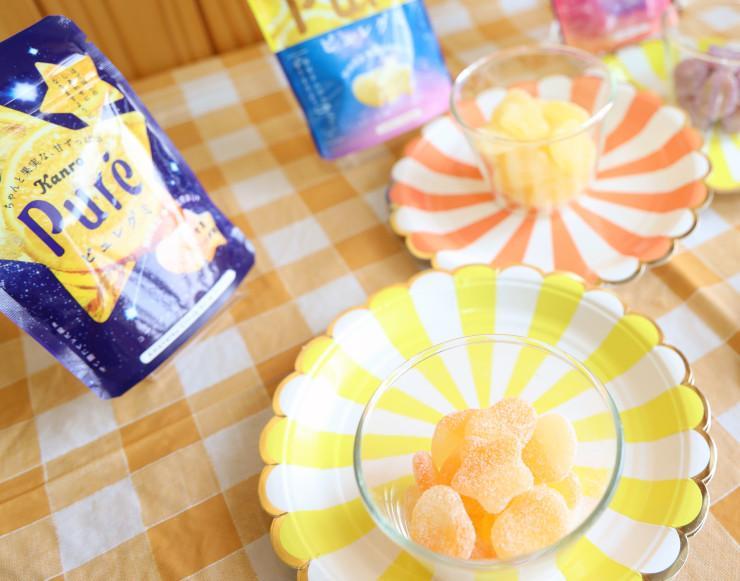 星形の「星ピュレ」入りの商品や、阿智村の星空をイメージしたピュレグミの新パッケージ