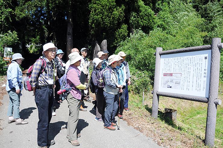 完成した看板を眺める散策者たち=南砺市坂本