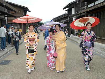 和装で宿場を町歩き 塩尻の奈良井宿で撮影会