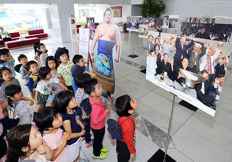 朝乃山の優勝祝賀会の写真などに見入る子どもたち=北日本新聞社