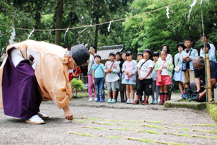 古式にのっとって後ろに下がりながら稲の苗を並べる野上宮司(左)