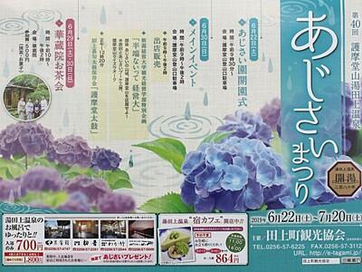 22日から田上・護摩堂山「あじさいまつり」