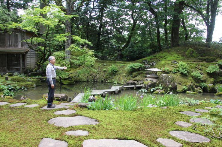 コケで覆われた貞観園。ガイドツアーでは歩きながら間近で観賞できる=11日、柏崎市高柳町岡野町