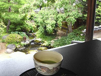 ナツツバキ開花、カフェ開店 須坂・田中本家博物館