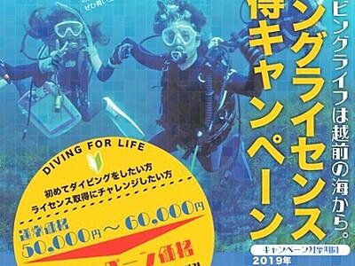 ダイビング資格を割安で 福井県越前町 9月まで取得キャンペーン