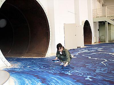 """床面に""""水の巨大生物"""" 入善町森発電所美術館"""