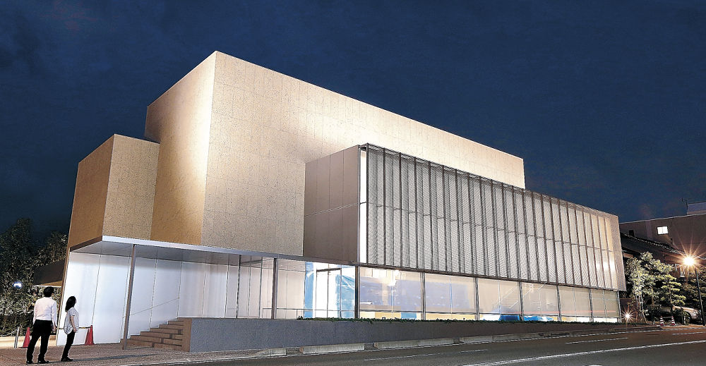 幻想的な光に包まれた谷口吉郎・吉生記念金沢建築館=金沢市寺町5丁目