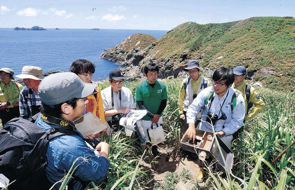 ドブネズミの駆除に用いるわなを説明する担当者=輪島市の七ツ島・大島