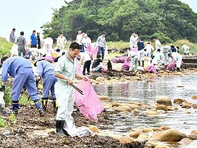 「北陸のハワイ」美しく 水島を清掃 福井・敦賀